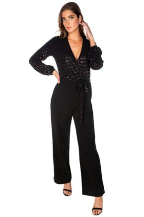 Sequins Crossover Balloon Sleeve Jumpsuit