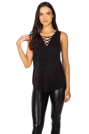 Glitter Knit Sleeveless Tunic with Criss Cross Detail