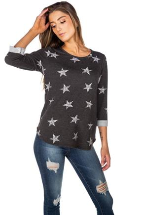 Star Print French Terry Sweatshirt with Roll-Up Sleeves