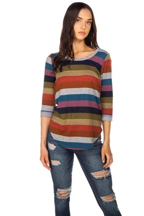 Stripe Knit Brushed Sweater with Roll-Up Sleeves