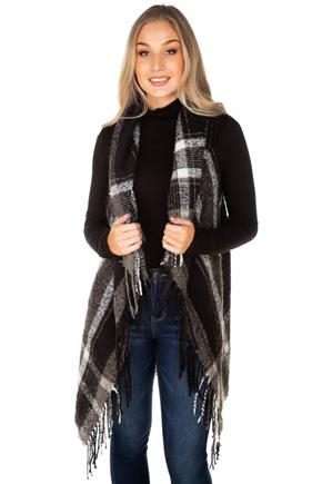 Plaid Vest with Fringe