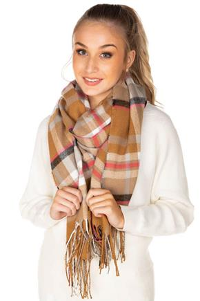 Camel and Pink Plaid Scarf with Fringe