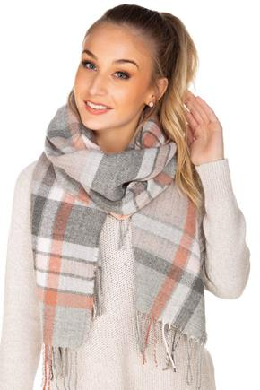 Grey and Rose Plaid Scarf with Fringe
