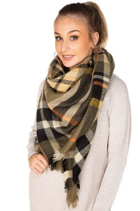 Olive and Gold Plaid Blanket Scarf