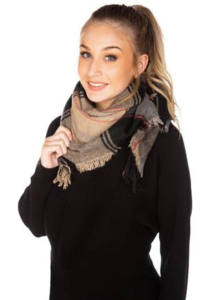 Mocha and Coral Plaid Blanket Scarf
