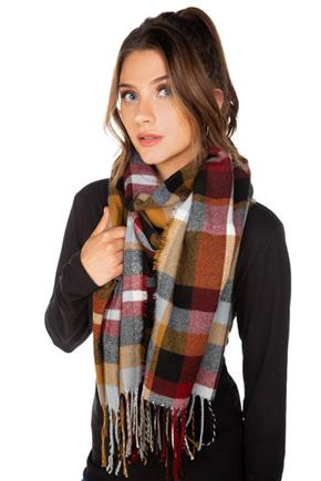 Camel and Red Plaid Scarf with Fringe