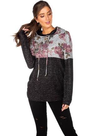 Floral and Solid Supersoft Hoodie