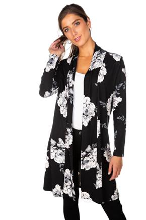 Floral Long Sleeve Brushed Cardigan
