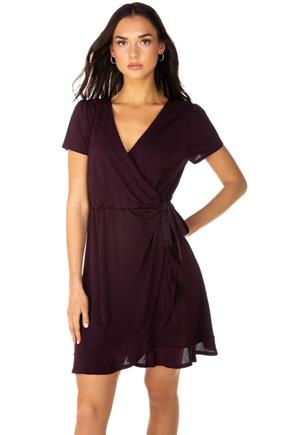 Cap Sleeve Wrap Dress