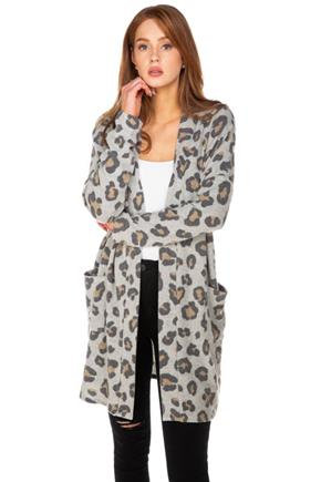 Cheetah Brushed Cardigan with Pockets