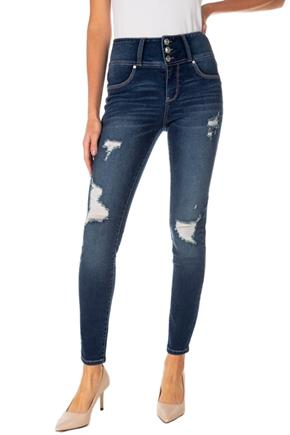 WallFlower Iris Wash Insta-Soft Sassy Skinny Distressed High-Rise Jegging with Triple Button Fly