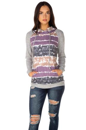 Tie-Dye Stripe Hoodie with Supersoft Sleeves and Trim