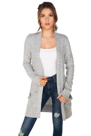 Supersoft Long Sleeve Cardigan with Pockets and Flatlock Stitching