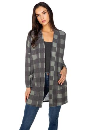 Buffalo Plaid Brushed Cardigan with Pockets