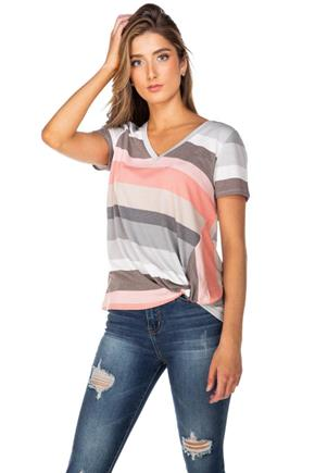 Stripe French Terry V-Neck with Knotted Hem