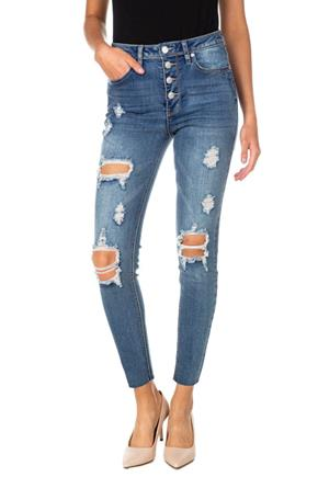 Almost Famous Dark Wash Destructed High Rise Jean with Exposed Button Fly and Raw Hem