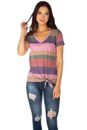 Stripe Short Sleeve V-Neck Top with Side-Tie