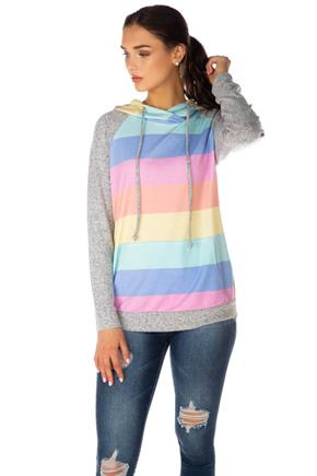 Multi-Colour Stripe French Terry Hoodie with Supersoft Sleeves