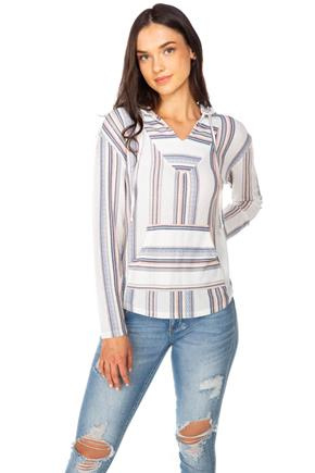 WallFlower Baja Stripe Long Sleeve Hoodie