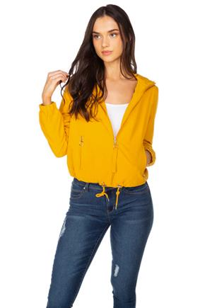Women's yellow Hooded Windbreaker