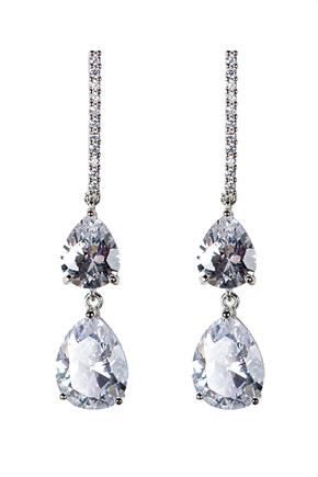 Double Teardrop Earrings with Rhinestones