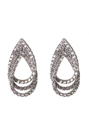 Layered Rhinestone Teardrop Earrings