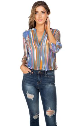 Abstract Stripe Half-Placket Blouse with Roll-Up Sleeves