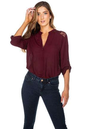Half-Placket Blouse with Roll-Up Sleeves and Lace Insert