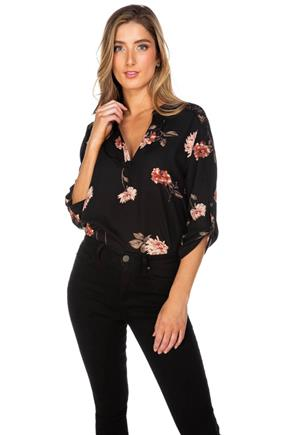 Floral Print Half-Placket Blouse with Lace Insert