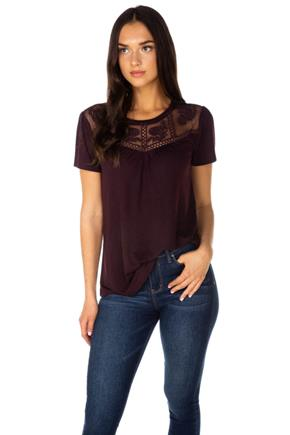 Short Sleeve Top with Crochet Lace Neckline