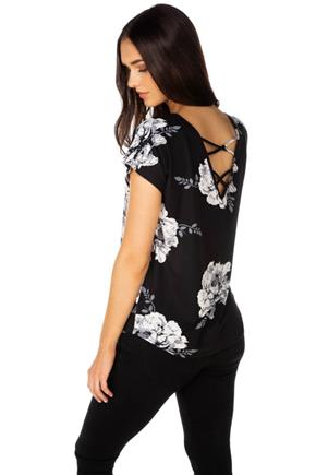 Black and Ivory Floral Brushed Top with Criss Cross Back