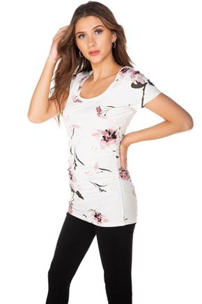 Floral Brushed Cap Sleeve Top with Side Ruching