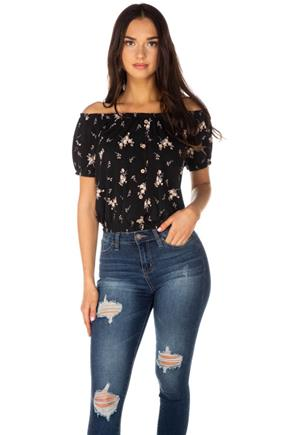 Ditsy Floral Off-the-Shoulder Peasent Top with Buttons
