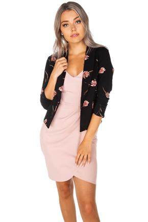 Floral Cropped Blazer with Ruched 3/4 Sleeves