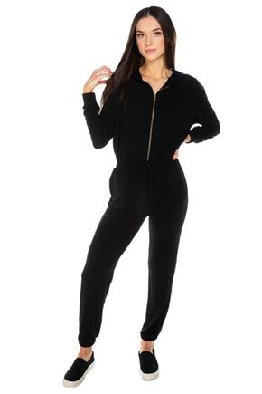 French Terry Long Sleeve Hooded Jumpsuit