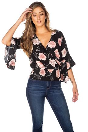 Floral Crossover Top with Bell Sleeves and Smocked Waist