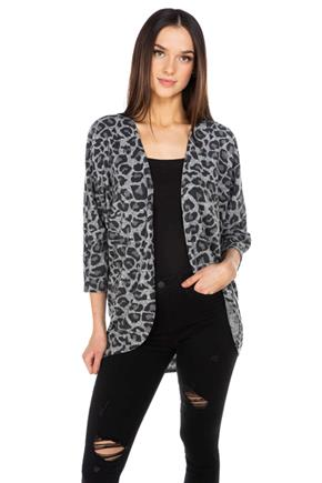 Animal Print Cocoon Cardigan
