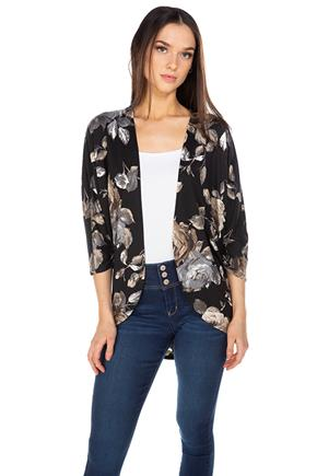 Floral Brushed Cocoon Cardigan