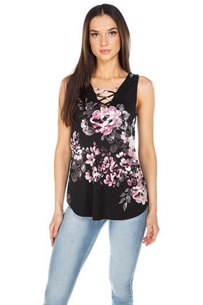 Floral Sleeveless Tunic with Criss-Cross Front Detail