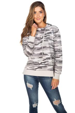 WallFlower Camo Hoodie with Side Slits