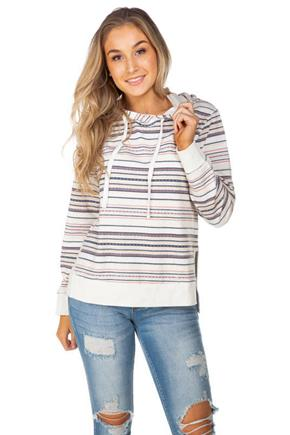 WallFlower Baja Stripe Hoodie with Side Slits