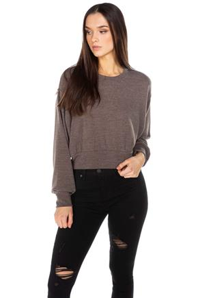 Balloon Sleeve Crop Sweater with Banded Bottom