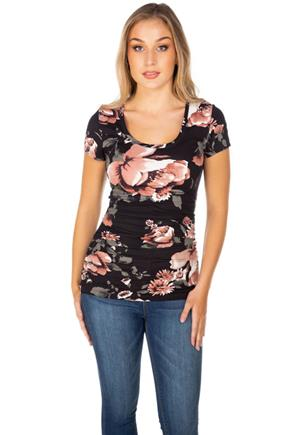 Floral Scoopneck Tee with Ruching