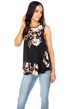 Floral Brushed Sleeveless Tunic Top