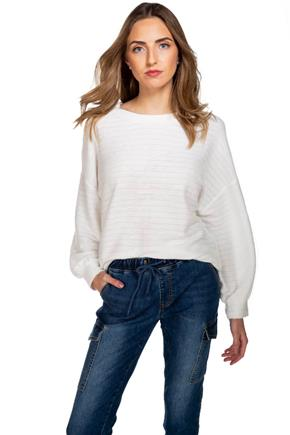 Stripe Drop-Needle Knit Sweater with Balloon Sleeves