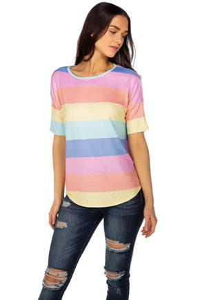 Multi-Colour Stripe Elbow Sleeve Top