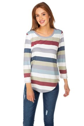 Stripe Soft Knit 3/4 Roll-Up Sleeve Top