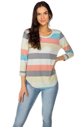 Pastel Stripe French Terry 3/4 Sleeve Top