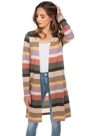 Stripe French Terry Long Sleeve Cardigan