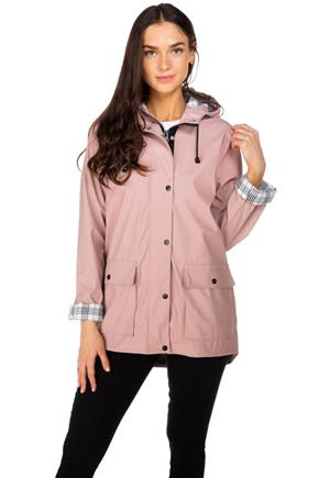 Women's rose Rain Jacket with Plaid Lining